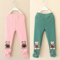 2014 winter bear girls clothing child velvet thickening long trousers legging kz-2793  sxl