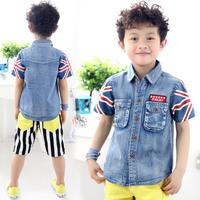2014 summer boys clothing child denim shirt short-sleeve shirt tx-1906  sxl
