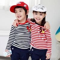 2014 spring stripe boys clothing girls clothing baby child long-sleeve T-shirt tx-2127 basic shirt  sxl