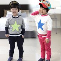 2014 pentastar spring and autumn child clothing boys sweatshirt harem pants set tz-1086  sxl