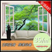 stickers art Mural window 3d stereo landsides pine sofa tv background wallpaper  home decor