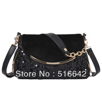 Fashion women's handbag one shoulder dual-use package black paillette bags free shipping