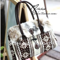 Autumn and winter  fleece rabbit fur horn button shoulder bag female bags free shipping