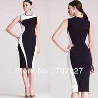 New Free Shipping Classic Black White Patchwork Slim Vintage Elegant  Sleeveless O-Neck Bodycon Knee-Length Dress