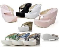 platform sandals slippers women Summer fashion high-heeled wedges flip slippers brief vintage leopard print flip flops plus size