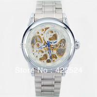 Stainless Steel Wrist Watch Fashion Man Watches  Skeleton Dial Winner Mechanical Watch Man silver  Mechanical  Free Shipping