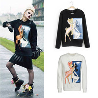New Fashion Thickness Pullovers Hoodies Women Cartoon Deer Bambi Printed O Neck Long Sleeve Sweatshirts with Hat Free Shipping