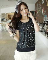 Korean Chiffon blouse short-sleeved Polka Dot lace women shirt