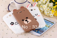 Free Shipping New Hot Mobile phone Cover for Samsung Galaxy S3 I9300 3D Bear Cute Rabbit Cartoon Soft Silicone Protective case