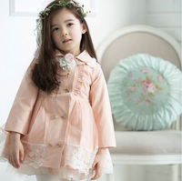 Hot sale autumn  child girl  medium-long double breasted trench outerwear free shipping