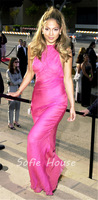 Newest long sheath halter backless hot pink chiffon Jennifer Lopez red carpet celebrity dresses