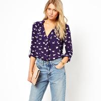 New 2014 Fashion womens' blue cute swan animal print blouse shirt long sleeve Turn-down collar shirt casual slim tops WF-273