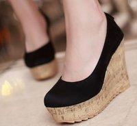 Coolcept free shipping high heel wedge shoes platform women sexy dress footwear fashion pumps P10691 hot sale EUR size 34-39