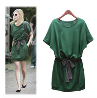 2014 women's clothing spring summer Europe contracted wind easing show thin lace-up dress with short sleeves