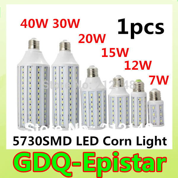 Free shipping 1pcs/lot 5730 SMD LED Lamp E27 B22 E14 7W/12W /15W / 30W / 40W 110V/ 220V AC LED Bulb white/Warm white Blub corn(China (Mainland))