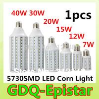 Free shipping 1pcs/lot 5730 SMD LED Lamp E27 B22 E14 7W/12W /15W /20W/25W/ 30W / 40W 110V/ 220V LED corn Bulb Warm/Cool white