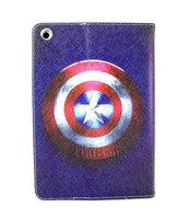 New Cute Cartoon Anime hero Captain America Shield Flip Stand pu Leather Case Cover For Apple Ipad Mini free shipping 07203