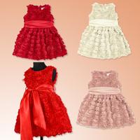fashion summer new children's rose sleeveless dress princess dress kid's dimensional flowers dresses lovely kids clothing 5pcs