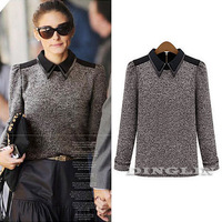 European Fashion Women Ladies Lapel Long Sleeve Knit Casual Top Blouse Sweater Shirt Clothing S M L Big Size Free Shipping 1212