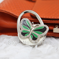 2013  Free Shipping New Arrived 1 PC Green & Black Mini Butterfly Accessory Lady Purse Handbag Hook Hanger Chic Gift
