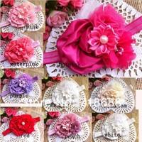 "3""rolled flower Satin Ribbon Flower Headbands Bling Chiffon Flower Headbands For Baby Photography Props 30PCS"
