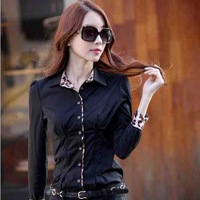 2014 new sexy Women's shirt autumn ol leopard print women's slim long sleeve korean shirt women office shirt