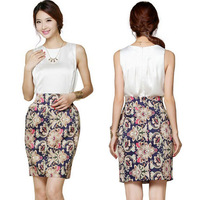 2014 Spring summer women Skirts vintage noble floral print mini skirts high waist pencil skirt free drop shipping