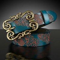 2014 New Fashion Women vintage carved genuine  leather strap female decoration all-match belt