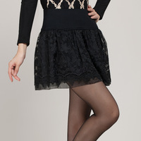 2013 lace short skirt pleated basic female skirt high waist skirt bust organza cutout fluffy medium skirt