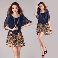 Free Shipping Vintage 2013 Women's hot-selling leopard printing plus size loose dress L XL XXL XXXL
