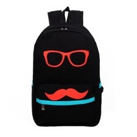 Fashion Mustache and Glasses Canvas Campus Bag Laptop Book BagsTravel Sports Outdoor Backpack For Boys Girls children school bag