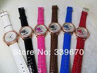 Around Bracelet Watch,rhinstone Crystal Imitation leather chain women's Quartz wrist watches 100pcs free shipping
