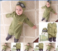 SR004 Free shipping new style baby rompers kids suits one-piece hoodies pilot design jumpsuits infant clothing sets retail