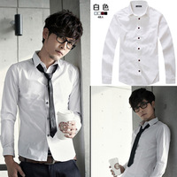 Black shirt male long-sleeve shirt slim male white basic shirt Men work wear top