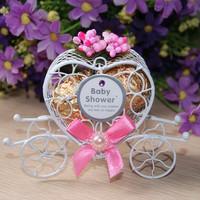 GAGA !Free shipping pink candy box   , iron carriage baby gift box     , 50 pcs/lot , BY031209
