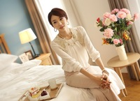 2013 summer loose women chiffon shirt blouse large size lace long-sleeved blouses-YG108