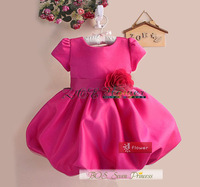 Retail 2014 Baby Girl Dress Formal Purple Princess Party Dress Fashion Ball Dress Children Clothing Summer flower dress BOS.316