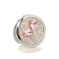 2014 New Diamon pink Butterfly women's Mirror Handmade Portable Double Dual Sides Stainless Steel Frame Cosmetic Makeup