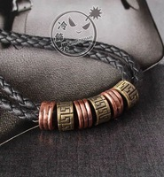Fashion sculpture letter necklace quality leather vintage pendant rope