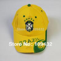 Brazil New 2014 World Cup Cap Adjustable Brazil National Team Soccer Caps Yellow Sun Hat Football Souvenirs Free shipping