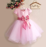 Retail 2014 new short sleeve paillette bowknot Dress Girls Flower Princess Party  Kids Formal Dress children party dress BOS.305