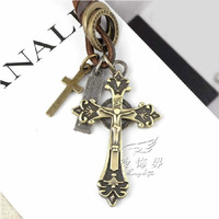 Male accounterment leather cord necklace cross pendant punk fashion accessories pendant long design necklace