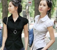2230 summer new women's short-sleeved shirt Slim waist Puff Sleeve Chiffon Blouses-YG113