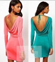2014  New Women's Fashion Backless Hollow Out Back V Shaped Long Sleeve Round Neck Dress Red/Green