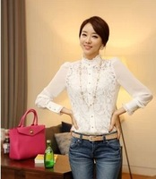 2013 Hitz women lace chiffon shirt shirt bottoming shirt Slim wild-YG105