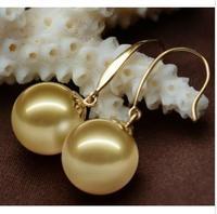 Fine 8-9mm natural Australian south sea golden Round pearl earrings 14K gold