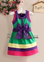 Retail new 2014  rainbow color  Vest Dress spring girls dress princess children dress bowknot Dress size for 1-5 years