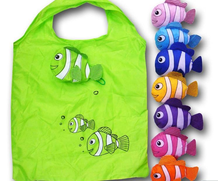 Free Shipping Tropical fish cute reusable plastic bags, Eco friendly Shopping bag , cartoon polyester bags folding handle bag(China (Mainland))