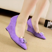New Hot 2014 Spring Ladies Fashion Suede Crystal Bowknot Wedge Heel High Heel Shoes,Women's Career shoes X375