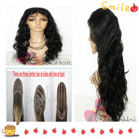 130% High Density Body Wave #1 Jet Black 10''-24'' in Stock Glueless Lace Front Wigs Brazilian Virgin Hair Free Shipping Cheap